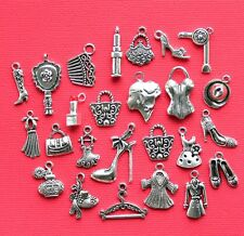 Fashionista Deluxe Charm Collection 25 Silver Tone Charms FREE Shipping E44