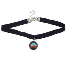 Necklace Alien Spaceship Charm Drop Lux Accessories Black Velvet Choker