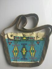 NATIVE AMERICAN LARGE BEADED SHOT BAG MERCURY DIME BUTTONS