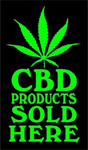 CBD Products Sold Here Decal Vinyl Storefront Dispensary Cannabis Door Sticker