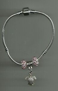 Silver Plated Bracelet with Sea Turtle Charm & Crystal Beads