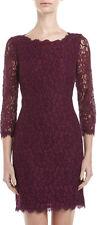 DVF ZARITA Lace V Back Zip Dress  In Purple Rose US sz 6 $325 New!