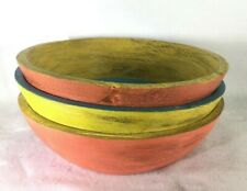 LOT 3 POTTERY BARN PAINTED WOODEN BOWL / WALL ART DECORATIVE Discontinued