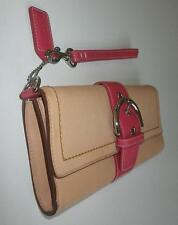 RARE Coach Ltd Ed Natural/Pink Vachetta Lg Clutch Purse Bag Wallet Wristlet WOW!