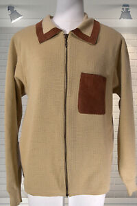 "Vintage AERTEX Original 60s Mens Zip Up Cardigan Mod Dagger Collar 42"" Medium"