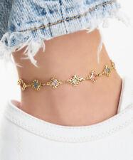 Diamond-Shape Crystal Filigree Anklet Sevil 18K Gold Plated Multi-Color