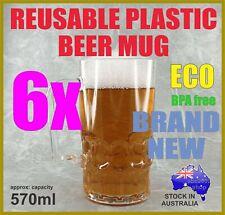 6 REUSABLE PLASTIC BEER DRINK MUG STEIN 570ml UNBREAKABLE OUTDOOR BAR USE