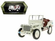 WELLY 18036 WILLYS 1/4 TON US ARMY JEEP TOP DOWN 1/18 DIECAST WHITE