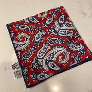 Seaward & Stearn Red & Blue Paisley Linen Pocket Square NWT