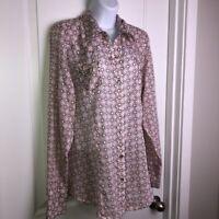 Roper Western Pearl Snap Shirt Sz XL Pink Brown Cotton Print Pockets Cowgirl EUC