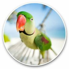 More details for 2 x vinyl stickers 25cm - parakeet parrot at a tropical beach  #45988