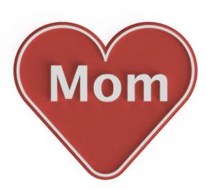 "Heart Shape Sign Plaque ""Mom"""