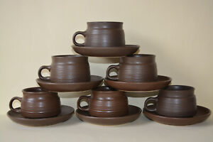 Vintage Denby Langley mayflower Cups and Saucers x 6