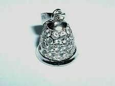 14K WHITE GOLD MOVEABLE 3D BELL PENDANT CHARM
