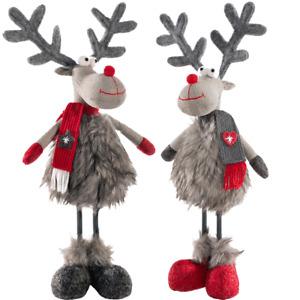 Standing Reindeer Figurine with Wooden Base Girl/Boy 32 cm