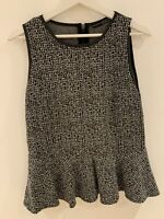 GREY WHITE PEPLUM TOP 14/16 SUMMER BEACH HOLIDAY MARBS PRETTY WORK SMART CUTE