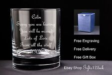 Personalised 10oz Whisky Glass, Leaving Gift / Retirement Gift