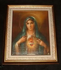 IMMACULATE HEART OF MARY FRAMED 8 x 10 print Mother of Jesus Gold Tone Frame NEW