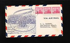 Airship Zeppelin USS Macon US Navy Greeting Long Beach 1934 Cover z7