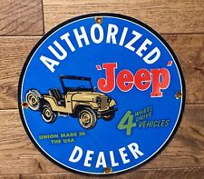 """JEEP"" DEALER SIGN  PORCELAIN SIGN 12 INCH. 4 WHEEL DRIVE!"