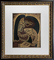 "Pablo Picasso Linogravure Limited Edition ""Femme au Collier"" 1959 w/Frame"