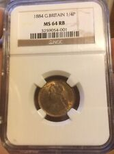 FARTHING 1884 NGC MS 64 RB 1/4P GREAT BRITAIN