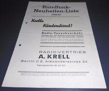 Prospetto libretto radio neuheite elenco radio Krell Berlino Insegne Pubblicità 1938/39