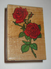 Roses Rubber Stamp Rose Bush Flowers Bud Thorns Leaves Stem Wood Mounted Garden