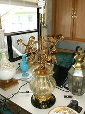 BEST! Rare Italian Florentine Murano glass floral bouquet table lamp Hollywood r