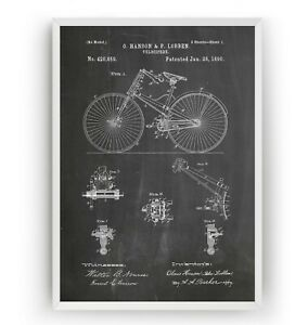 Velocipede 1890 Patent Print - Bicycle Poster Wall Art Bike Gift - Unframed