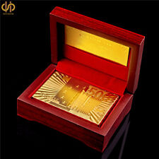 Playing Card Gold Plated 500 Euro Poker Casino Foil Poker Deck W/ Red Wooden Box