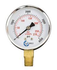 2 12 Pressure Gauge Chrome Plated Steel Case 14npt Lower Mnt 4000 Psi