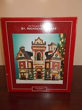 ST NICHOLAS SQUARE ILLUMINATED FIRE HOUSE STATION CHRISTMAS VILLAGE COLLECTION
