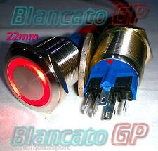 PULSANTE monostabile 22mm in acciaio INOX SPDT LED rosso 12V Waterproof metallo