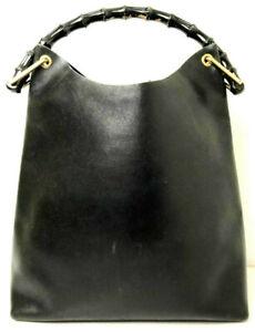 GUCCI handbag GG Leather Black Bamboo Big Tote Hand Bag Purse Hobo Large