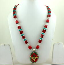 RED QUARTZ & TURQUOISE GEMSTONE BEADED BEAUTIFUL NECKLACE 77 GRAMS
