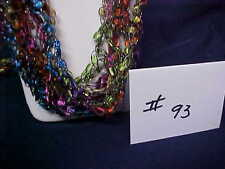 Handmade Crocheted Ladder Trellis Ribbon Necklace - #93 - Rainbow Sparkle