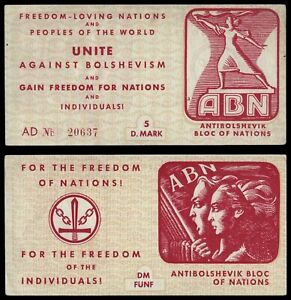 🔴GERMANY 5 Mark ND Anti-Bolshevik bloc of nations (Ukrainan fascist)  voucher🔴