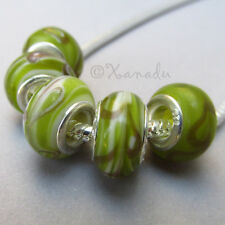 5PCs Wholesale Green And Maroon European Charm Lampwork Glass Beads