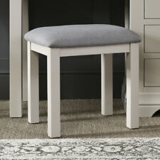 French Country Grey Painted Linen Dressing Table Stool - Upholstered seat FGR13