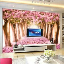 3D The Romantic Tunnel of Pink Flower Trees Self-adhesive Wallpaper Wall Mural