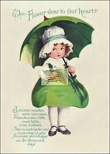 REPRINT PICTURE old postcard ST PATRICK'S DAY the flower dear to our heart 5x7