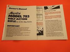 MARLIN MODEL 783 BOLT ACTION OWNERS MANUAL, 10 pages of info, excellent quality