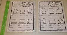 Two laminated 2-D Shapes Sides and Corners math worksheets. 1-5 grade geometry.