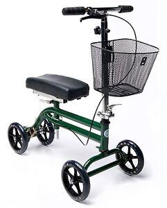 Steerable Knee Walker Scooter Turning Folding with Disc Brake & Basket Green