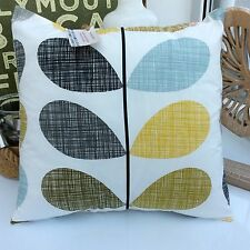 SCRIBBLE STEM CUSHION COVER MADE with ORLA KIELY MULTI STEM DUCK EGG OCHRE GREY