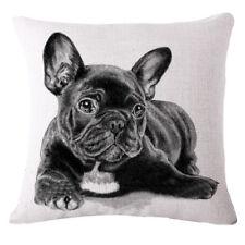 French Black Bulldog Animal Print Pillow Case Sofa Pillowcase Dark Grey J8O6