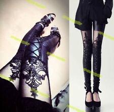 US Ship! Womens Girl Black Lace Leggings Punk Gothic stocking Tight Long Pants
