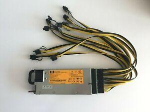 HP Server PSU 750W + Breakout Board + 10x PCI-E Cables GPU Mining