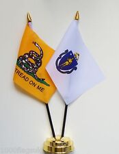Gadsden & Massachusetts Double Friendship Table Flag Set